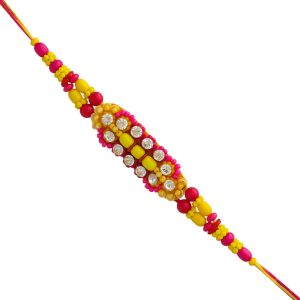 Pink and Yellow Beads Fancy Rakhi